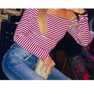 Striped Long Sleeve Off The Shoulder Top
